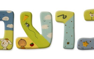 Animated Hebrew name signs for kids rooms
